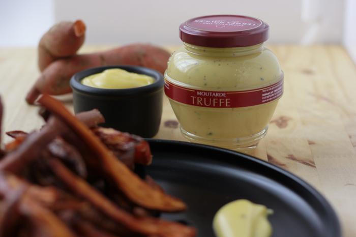 Frites de Patate Douce et Mayonnaise à la moutarde à la truffe – 4 personnes